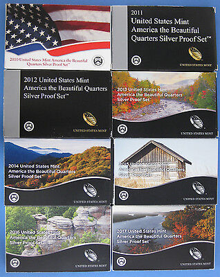 2010 thru 2016 and 2017 Silver Proof America the Beautiful 40 coin Boxed Set