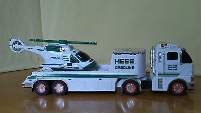 2006 Hess Gasoline Toy Truck and Helicopter Good Condition, Working Lights Rotor