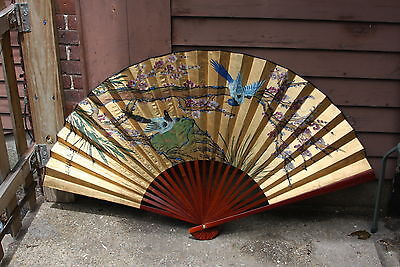 "Vtg Korean 51"" Wall Hanging Hand Fan Heavy Gold Gilded Hand Painted Birds Signed"