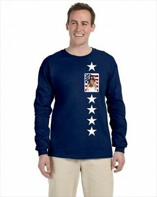 Carolines Treasures SC9622-LS-NAVY-L Collie With American Flag USA Long Sleeve