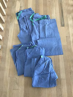 3 Sets - 3 Shirts 3 Pants of Blue Scrubs XS EUC