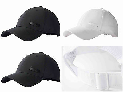 Adidas Mens Baseball Cap Womens Hats 6 Panel Metal Unisex Black White Large