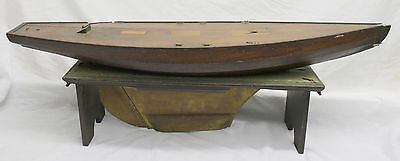 """Early Hand Made POND BOAT ~ Detailed Construction ~ LARGE 39"""" ~ Antique Sailboat"""