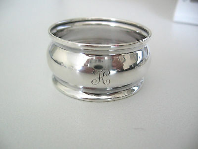 "Fine sterling silver napkin ring engraved initial ""K"""