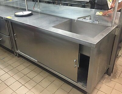 "Stainless Steel Work Table Cabinet Sliding Doors With Right Sink 66.5"" X 30"""