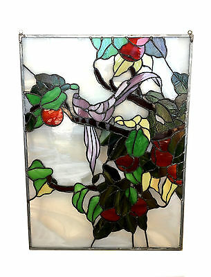 STAINED GLASS 'Birds in Apple Tree' Hanging Window Pane Leaded Lead Custom Made