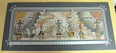 """Large Yei Sand Painting by R. Morgan - 1999 - 43"""" x 20"""""""