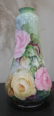 Antique Hand Painted Porcelain Vase Roses Floral Silesia Poland Signed Reams