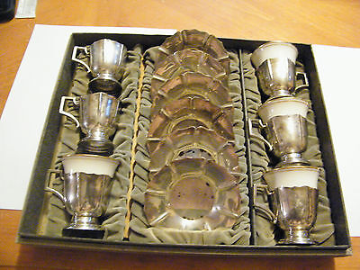 Vintage Sterling Silver Cup And Saucers With Lenox Inserts In Original Case