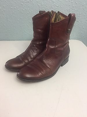 Frye Melissa Button Brown Leather Short Boot Side Zip Women's Size 6.5 B