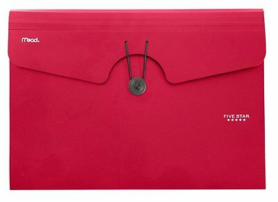 6 Pockets Files Expanding Paper Document Holder Office Drawer Organizer - Red