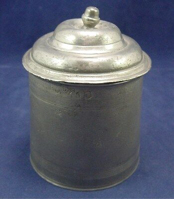 Pewter Container With Lid And Acorn Finial Marked  Antique