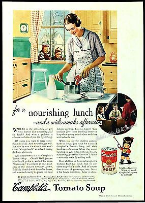 1936 CAMPBELL'S SOUP Kids Mom Vintage 1930S Retro Green Kitchen Vtg PRINT AD
