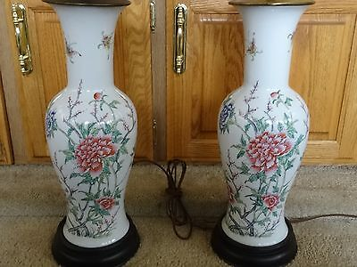 Beautifully Painted Pair of Japanese Vase Lamps. Antique. Vintage.