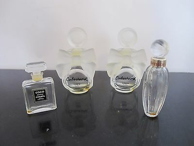 Lot of 4 Collectible MINIATURE Perfume Bottles CHANEL Valentino CABOCHARD Gres
