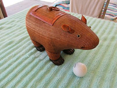 "Vintage Wicker Sewing Basket BEAR - CEDAR Feet - 10"" Trinkets"