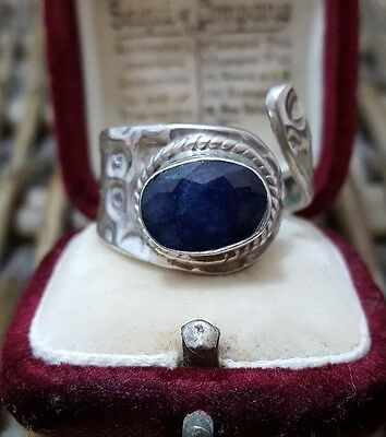 925 Sterling Silver Men's Ring, Wrap Style, Sapphire, 3.02Ct, Size R, Adjustable