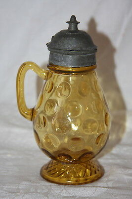 Antique EAPG Pewter Lid Yellow Amber Thumbprint & Diamond Syrup Pitcher 1884
