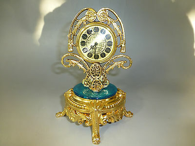 Rare Vintage German Gold Gilt Ormolu Ornate Mantel Alarm Clock (Watch The Video)