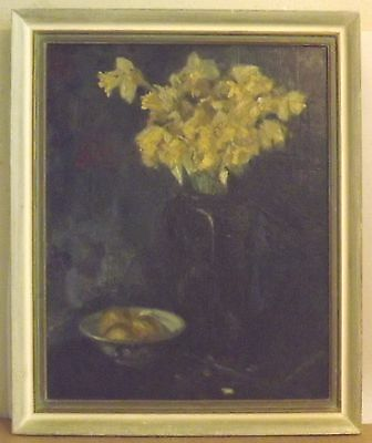 Unsigned Antique Floral Bouquet oil on canvas painting Van Meygaard Frame Label
