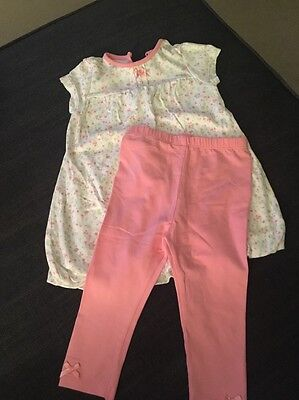 Girls George Outfit Leggings And Dress/top 9-12 Months