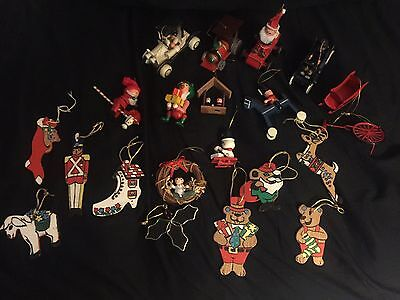 Christmas Decorations Vintage Wooden, Metal Glass Ornaments Lot Cars, Santa