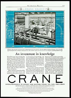 1927 CRANE Valves, Fitting, Piping, Boilers Chicago Original Vintage PRINT AD