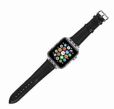 Caseit Genuine Leather Replacement Wristband Watch Strap Apple Watch 42mm Black