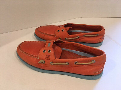 RARE Sperry Top Sider ORANGE Leather Slip On Shoes Size Men's 11M