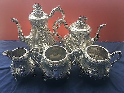 5 pc Antique English Sterling Silver Hands & Sons Tea and Coffee Set Circa 1870