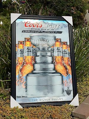 "Coors Light Stanley Cup Playoffs NHL Hockey Beer Bar Big Man Cave Mirror ""New"""
