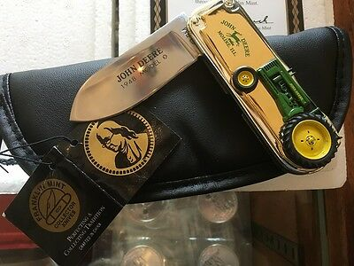 Franklin Mint John Deere Tractor Pocket Knife 1948 Model B 24k Gold Accent