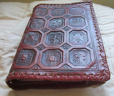 Vintage Hand Tooled Leather Fleur de Lis Mult- Design Embossed Book Cover Jaket