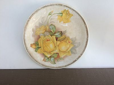 Harker Pottery Company Vintage Porcelain  Plate with Yellow Roses c. 1890s