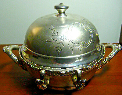 Antique Van Bergh Britannia Metal Co. Quadruple Silverplate Butter Dish, 359