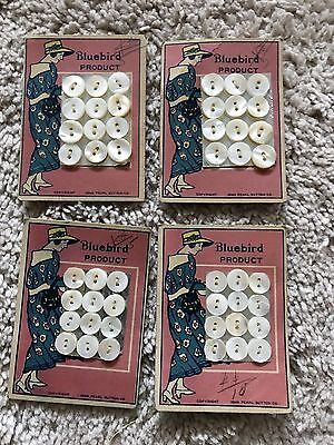 Antique Bluebird Mother of Pearl Buttons Original Cards 1920's