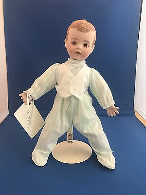 """Hand Painted Porcelain Boy Doll By Alice's Doll Workshop - 12"""" tall"""