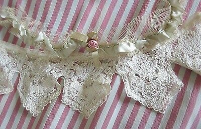 Antique Lace Collar Gather/Ruched Silk Ribbon Tiny Rose Flower French Doll Trim