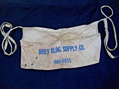 Vintage Dries Building Supply Co Carpenter's Canvas Nail Apron / Macungie Pa