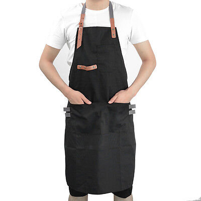 Painter Canvas Apron Cafe Barista Barber Workwear Faux Leather Straps Full Apron