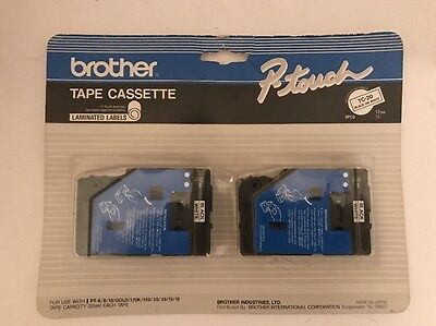 """NEW  Brother TC20 1/2"""" Black on White P-touch Tape Cassette 2 Pack"""
