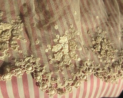 Antique Bobble Needle Net Lace Floral French Doll Dress Trim