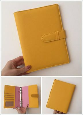 yellow with pink planner organizer A5 large desk size PU leather NEW 6ring