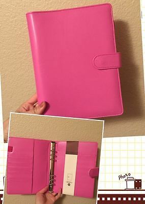 hot pink dark pink planner organizer A5 large desk size PU leather NEW 6ring
