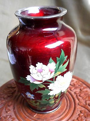 """Antique Japanese Pigeon Blood Vase, 5"""" Tall w/ Beautiful Flowers"""