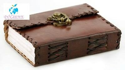 Small Poetry Leather Blank Book Diary Retro Notebook Journal with Lock Freeship