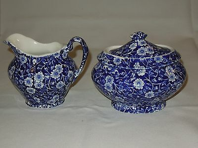 Royal Crownford Staffordshire England Blue Calico Creamer and Covered Sugar Bowl
