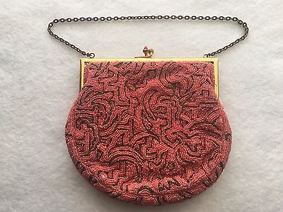 Vintage Seed Beaded Purse Coral Color Beads-Made In France