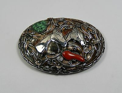 """Native American """" YELLOWHORSE"""" Vintage Sterling Dbl Horsehead Signed Belt Buckle"""