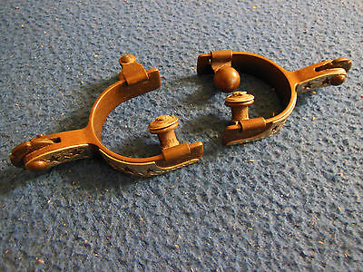 PAIR of Vintage Silver Inlay CHILDS WESTERN SPURS Brass..